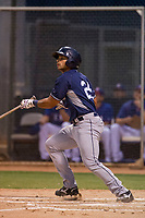 AZL Padres 2 third baseman Luis Roman (28) bats during a game against the AZL Rangers on August 2, 2017 at the Texas Rangers Spring Training Complex in Surprise, Arizona. Padres 2 defeated the Rangers 6-3. (Zachary Lucy/Four Seam Images)