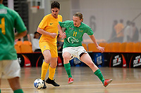 Nick Carrick of Central and Thomas Petersen of Southern during the Men's Futsal SuperLeague, Central Futsal v Southern United Futsal at ASB Sports Centre, Wellington on Saturday 31 October 2020.<br /> Copyright photo: Masanori Udagawa /  www.photosport.nz