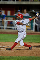 Kevin Williams (5) of the Orem Owlz bats against the Ogden Raptors at Home of the Owlz on September 11, 2017 in Orem, Utah. Ogden defeated Orem 7-3 to win the South Division Championship. (Stephen Smith/Four Seam Images)