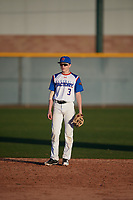 Skyler Riedinger (3) of Bismarck Century High School in Bismarck, North Dakota during the Baseball Factory All-America Pre-Season Tournament, powered by Under Armour, on January 13, 2018 at Sloan Park Complex in Mesa, Arizona.  (Mike Janes/Four Seam Images)