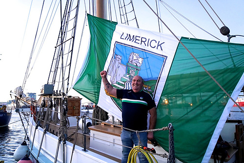 Up for the match – Limerick hurling fan and Ilen crewman Mike Grimes makes no secret of his loyalties aboard ship at Poolbeg this week. Photo: Gary MacMahon