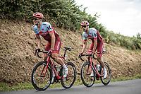 Marcel Kittel (GER/Katusha Alpecin) chasing the peloton on the hilly parcours. <br /> <br /> Stage 5: Lorient > Quimper (203km)<br /> <br /> 105th Tour de France 2018<br /> ©kramon
