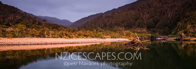 Dusk over Kohaihai River and coastal forest near Karamea, Kahurangi National Park, Buller Region, West Coast, New Zealand, NZ