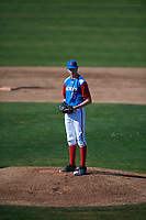 Daniel Carpenter (15) of Martin Luther King Jr. High School - Riverside in Moreno Valley, California during the Baseball Factory All-America Pre-Season Tournament, powered by Under Armour, on January 13, 2018 at Sloan Park Complex in Mesa, Arizona.  (Mike Janes/Four Seam Images)