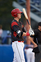 Batavia Muckdogs first baseman Sean Reynolds (15) at bat during a game against the Mahoning Valley Scrappers on August 29, 2017 at Dwyer Stadium in Batavia, New York.  Batavia defeated Mahoning Valley 2-0.  (Mike Janes/Four Seam Images)