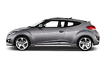 Car Driver side profile view of a2015 Hyundai Veloster Turbo 3 Door Hatchback Side View