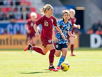 HARRISON, NJ - MARCH 08: Jordan Nobbs #10 of England dribbles during a game between England and Japan at Red Bull Arena on March 08, 2020 in Harrison, New Jersey.