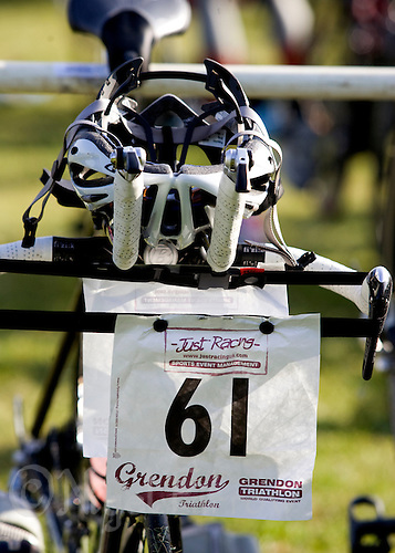 10 MAY 2009 - GRENDON,GBR - A race number hangs from handlebars in transition - Grendon Triathlon .(PHOTO (C) NIGEL FARROW)