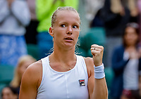 London, England, 2 nd July, 2019, Tennis,  Wimbledon, Kiki Bertens (NED) wins the first round and jubilates.<br /> Photo: Henk Koster/tennisimages.com