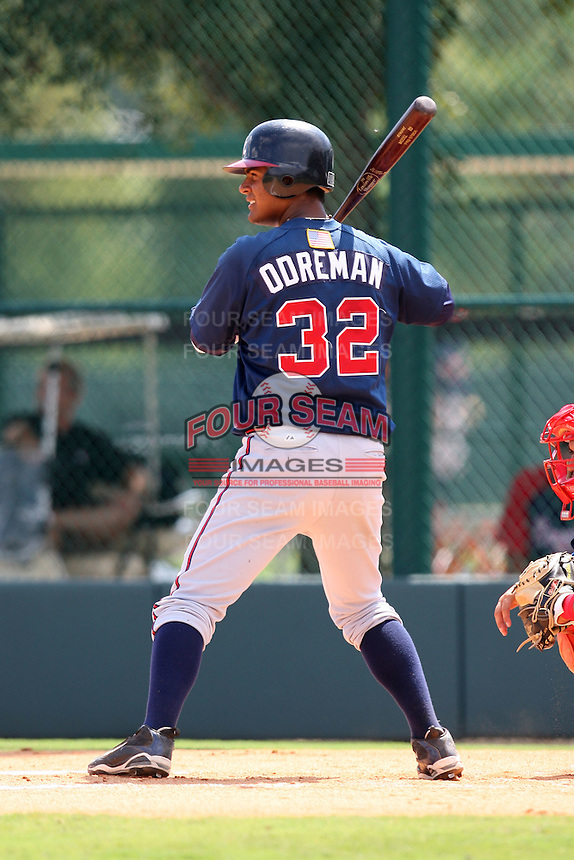 October 6, 2009:  Alberto Odreman of the Atlanta Braves organization during an Instructional League game at Disney's Wide World of Sports in Orlando, FL.  Photo by:  Mike Janes/Four Seam Images