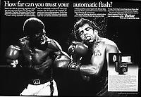 Vivitar boxing ad, Keye, Donna Pearlstein Agency, 1988. Photo by John G. Zimmerman.