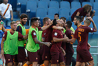 Calcio, Serie A: Roma vs Udinese. Roma, stadio Olimpico, 20 agosto 2016.<br /> Roma's Diego Perotti celebrates with teammates after scoring on a penalty kick during the Italian Serie A football match between Roma and Udinese at Rome's Olympic Stadium, 20 August 2016. Roma won 4-0.<br /> UPDATE IMAGES PRESS/Riccardo De Luca