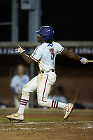 Kier Meredith (3) (Clemson) of the High Point-Thomasville HiToms follows through on his swing against the Wilson Tobs at Finch Field on July 17, 2020 in Thomasville, NC. The Tobs defeated the HiToms 2-1. (Brian Westerholt/Four Seam Images)