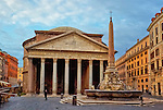 an early morning photo of the Pantheon, fountain, and the Piazza della Rotunda