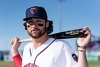 Lancaster JetHawks infielder Ryan Vilade (4) poses for a photo before a game against the Lake Elsinore Storm at The Hangar on April 10, 2019 in Lancaster, California. (Zachary Lucy/Four Seam Images)