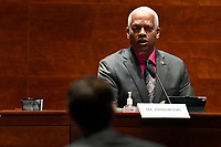 United States Representative Hank Johnson (Democrat of Georgia), right, asks a question of John Elias, a career official in the Justice Departmentís antitrust division, during a House Judiciary Committee hearing on Capitol Hill in Washington, Wednesday, June 24, 2020, on oversight of the Justice Department and a probe into the politicization of the department under Attorney General William Barr. <br /> Credit: Susan Walsh / Pool via CNP/AdMedia