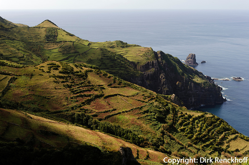 an der Westküste auf der Insel Flores, Azoren, Portugal