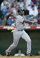Mike Cameron of the Seattle Mariners bats during a 2002 MLB season game against the Los Angeles Angels at Angel Stadium, in Los Angeles, California. (Larry Goren/Four Seam Images)