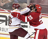 Danny Linell (BC - 10), Michael Mersch (Wisconsin - 25) - The Boston College Eagles defeated the visiting University of Wisconsin Badgers 9-2 on Friday, October 18, 2013, at Kelley Rink in Conte Forum in Chestnut Hill, Massachusetts.