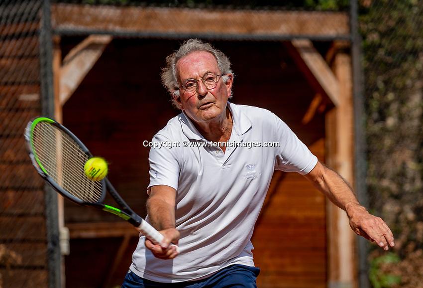 Hilversum, The Netherlands,  August 18, 2020,  Tulip Tennis Center, NKS, National Senior Championships, Men's single 75+ , Niels Menko (NED) <br /> Photo: www.tennisimages.com/Henk Koster
