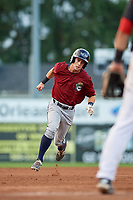 Mahoning Valley Scrappers shortstop Ernie Clement (24) runs the bases during a game against the Batavia Muckdogs on August 18, 2017 at Dwyer Stadium in Batavia, New York.  Mahoning Valley defeated Batavia 8-2.  (Mike Janes/Four Seam Images)
