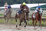 September 3, 2012. Easter Gift (#4), ridden by Kendrick Carmouche and trained by Nick Zito, passes Traffic Light (#6, right) in the stretch, on his way to winning the grade III Smarty Jones Stakes at Parx Racing. Traffic Light was second. (Joan Fairman Kanes/Eclipse Sportswire)