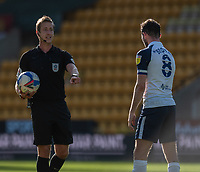 Preston North End's Alan Browne (right) discussed a free kick decision with the referee John Brooks (left) <br /> <br /> Photographer David Horton/CameraSport<br /> <br /> The EFL Sky Bet Championship - Norwich City v Preston North End - Saturday 19th September 2020 - Carrow Road - Norwich<br /> <br /> World Copyright © 2020 CameraSport. All rights reserved. 43 Linden Ave. Countesthorpe. Leicester. England. LE8 5PG - Tel: +44 (0) 116 277 4147 - admin@camerasport.com - www.camerasport.com