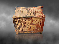 Minoan  pottery gabled larnax coffin chest with birds and marine animals,  Anthanatoi 1370-1250 BC, Heraklion Archaeological  Museum, grey background.
