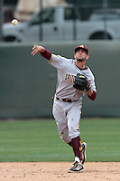 Deven Marrero #17 of the Arizona State Sun Devils makes a throw during a game against the UCLA Bruins at Jackie Robinson Stadium on March 16, 2012 in Los Angeles,California. UCLA defeated Arizona State 6-5.(Larry Goren/Four Seam Images)