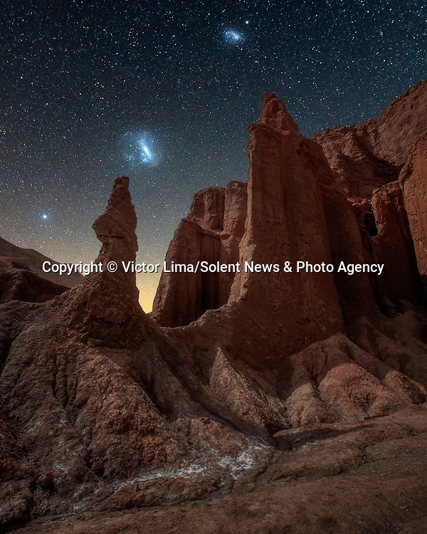 """Pictured: The night sky over the Atacama Desert in Chile<br /> <br /> Photographs show incredible landscapes below a sky illuminated by stars. Away from cities and using long-exposure shots captures what cannot be seen with the naked eye of the night sky. <br /> <br /> The photos were taken across South America by landscape photographer Victor Lima. Mr Lima, 45, said: """"It is necessary to have a deep connection with nature to be able to understand a landscape you can't see with your own eyes."""" SEE OUR COPY FOR ME DETAILS<br /> <br /> Please byline: Victor Lima/Solent News<br /> <br /> © Victor Lima/Solent News & Photo Agency<br /> UK +44 (0) 2380 458800"""