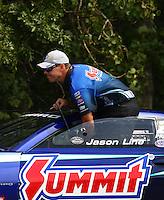 Aug. 18, 2013; Brainerd, MN, USA: NHRA pro stock driver Jason Line during the Lucas Oil Nationals at Brainerd International Raceway. Mandatory Credit: Mark J. Rebilas-