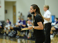 Bentonville coach Michelle Smith directs her team Tuesday, Sept. 15, 2020, against Fayetteville during play in Tiger Arena in Bentonville. Visit nwaonline.com/200916Daily/ for today's photo gallery. <br /> (NWA Democrat-Gazette/Andy Shupe)