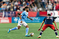 FOXBOROUGH, MA - SEPTEMBER 11: Ismael Tajouri-Shradi #17 of New York City FC dribbles during a game between New York City FC and New England Revolution at Gillette Stadium on September 11, 2021 in Foxborough, Massachusetts.