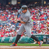30 August 2015: Miami Marlins first baseman Justin Bour in action against the Washington Nationals at Nationals Park in Washington, DC. The Nationals defeated the Marlins 7-4 in the third game of their 3-game weekend series. Mandatory Credit: Ed Wolfstein Photo *** RAW (NEF) Image File Available ***