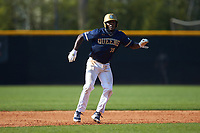 Broadus Roberson (39) of the Queens Royals takes his lead off of second base during game two of a double-header against the Catawba Indians at Tuckaseegee Dream Fields on March 26, 2021 in Kannapolis, North Carolina. (Brian Westerholt/Four Seam Images)