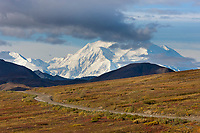 The north and south summits of Denali are visible from Highway pass along the Denali Park road, Denali National Park, Alaska.