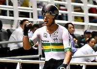 CALI – COLOMBIA – 18-02-2017: Sam Welsford de Australia, gana medalla de oro en la prueba Omnium varones, en el Velodromo Alcides Nieto Patiño, sede de la III Valida de la Copa Mundo UCI de Pista de Cali 2017. / Sam Welsford from Australia, win gold medal in Omnium Men Race at the Alcides Nieto Patiño Velodrome, home of the III Valid of the World Cup UCI de Cali Track 2017. Photo: VizzorImage / Luis Ramirez / Staff.