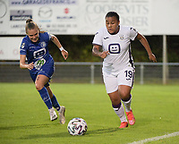 Mariam Abdulai Toloba (19) of Anderlecht and Alixe Bosteels (16) of AA Gent Ladies pictured during a female soccer game between RSC Anderlecht Dames and AA Gent Ladies  on the fourth matchday of the 2021 - 2022 season of Belgian Womens Super League , friday 10 th of September 2021 in Overijse , Belgium . PHOTO SPORTPIX | DIRK VUYLSTEKE