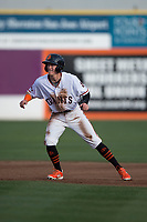 San Jose Giants center fielder Bryce Johnson (28) takes a lead off second base during a California League game against the Modesto Nuts at San Jose Municipal Stadium on May 15, 2018 in San Jose, California. Modesto defeated San Jose 7-5. (Zachary Lucy/Four Seam Images)