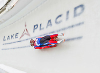 5 December 2014:  Matej Kvicala and Jaromir Kudera, sliding for the Czech Republic, bank into Curve 10 on their second run, ending the day with a 16th place finish and a combined 2-run time of 1:30.222 in the Men's Doubles Competition at the Viessmann Luge World Cup, at the Olympic Sports Track in Lake Placid, New York, USA. Mandatory Credit: Ed Wolfstein Photo *** RAW (NEF) Image File Available ***