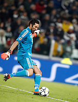 Football Soccer: UEFA Champions League Juventus vs Tottenahm Hotspurs FC Round of 16 1st leg, Allianz Stadium. Turin, Italy, February 13, 2018. <br /> Juventus' Captain and goalkeeper Gianluigi Buffon in action during the Uefa Champions League football soccer match between Juventus and Tottenahm Hotspurs FC at Allianz Stadium in Turin, February 13, 2018.<br /> UPDATE IMAGES PRESS/Isabella Bonotto