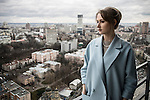 Kiev, Ukraine, 5 december 2013. Alena Berezovskaya Boiko, ex-journalist and political activitst, photographed on the roof of Gulliver shopping and business center, the highest tower in Kiev.