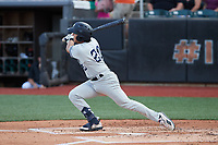 Anthony Seigler (20) of the Hudson Valley Renegades follows through on his swing against the Aberdeen IronBirds at Leidos Field at Ripken Stadium on July 23, 2021, in Aberdeen, MD. (Brian Westerholt/Four Seam Images)