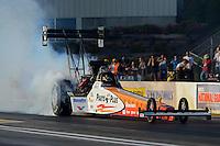 May 18, 2012; Topeka, KS, USA: NHRA top fuel dragster driver Clay Millican during qualifying for the Summer Nationals at Heartland Park Topeka. Mandatory Credit: Mark J. Rebilas-