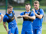 St Johnstone Training…31.07.19<br />Ross Callachan, Matty Kennedy and Jason Kerr pictured enjoying themselves during training ahead of Saturday's opening game of the season at Celtic Park.<br />Picture by Graeme Hart.<br />Copyright Perthshire Picture Agency<br />Tel: 01738 623350  Mobile: 07990 594431