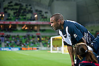 MELBOURNE, AUSTRALIA - NOVEMBER 18: Archie Thompson of the Victory is attended to by support staff during the round 14 A-League match between the Melbourne Victory and Central Coast Mariners at AAMI Park on November 18, 2010 in Melbourne, Australia (Photo by Sydney Low / Asterisk Images)