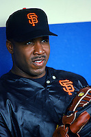Barry Bonds of the San Francisco Giants in the dugout before a 1999 Major League Baseball season game against the Los Angeles Dodgers at Dodger Stadium in Los Angeles, California. (Larry Goren/Four Seam Images)