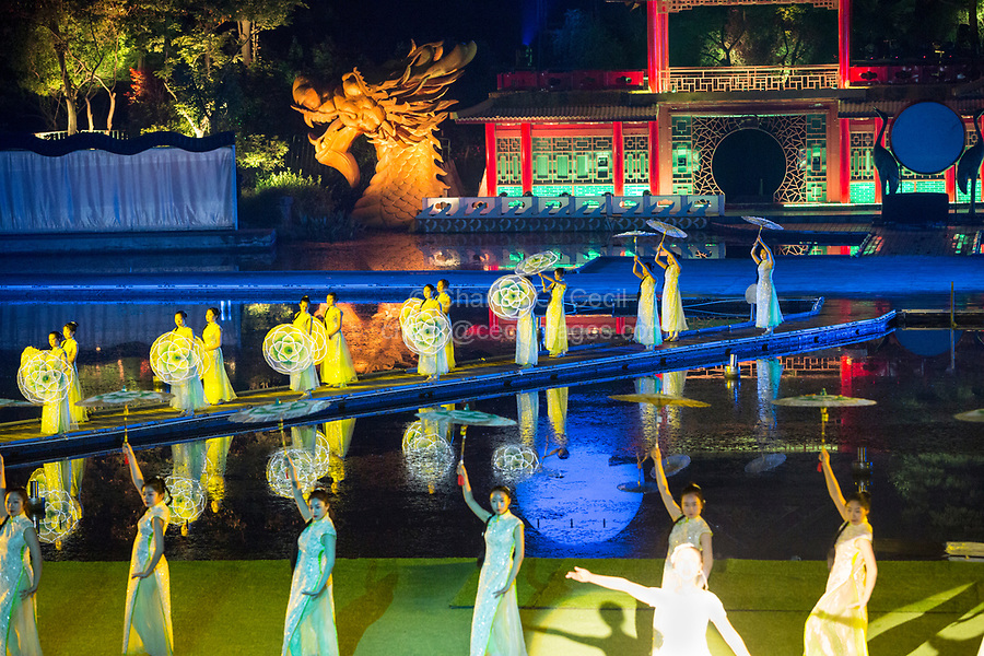 "Yangzhou, Jiangsu, China.  Evening Dance Show, ""A Night of Flowers and Moonlight by the Spring River."""