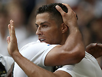 Calcio, Serie A: Juventus - Sassuolo, Turin, Allianz Stadium, September 16, 2018.<br /> Juventus' Cristiano Ronaldo celebrates after scoring his second goal with his teammates during the Italian Serie A football match between Juventus and  Sassuolo at Torino's Allianz stadium, September 16, 2018.<br /> UPDATE IMAGES PRESS/Isabella Bonotto