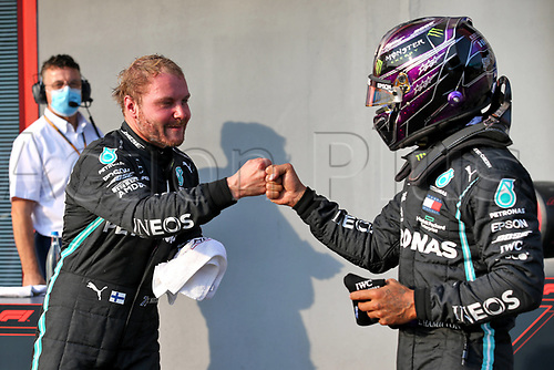 31st October 2020, Imola, Italy; FIA Formula 1 Grand Prix Emilia Romagna, Qualifying;  77 Valtteri Bottas FIN, Mercedes-AMG Petronas Formula One Team is congratulated for pole by 2nd placed 44 Lewis Hamilton GBR, Mercedes-AMG Petronas Formula One Team